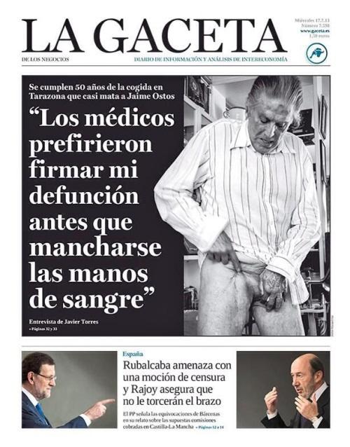 "Portada de ""La Gaceta"" protagonizada por Jaime Ostos"