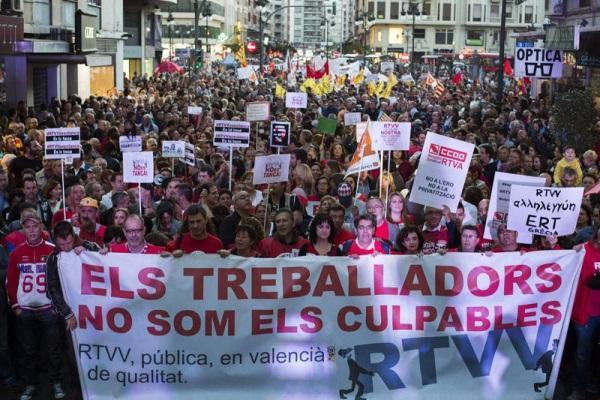 Manifestación de los trabajadores de RTVV