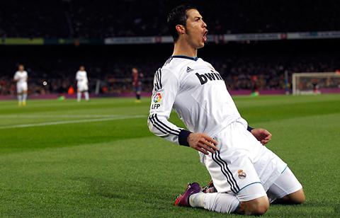Cristiano Ronaldo celebrando un gol en el Camp Nou.