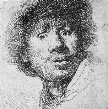 Rembrandt 1630. Autorretrato posiblemente para Facebook. (Foto; wikipedia.org)