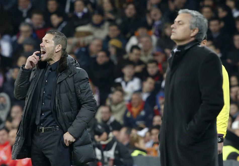 Diego Simeone y José Mourinho en el partido de ida de semifinales de Champions League. (Foto: http://img.ibtimes.com/)