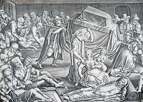 Grabado sobre la peste en Londres en 1665