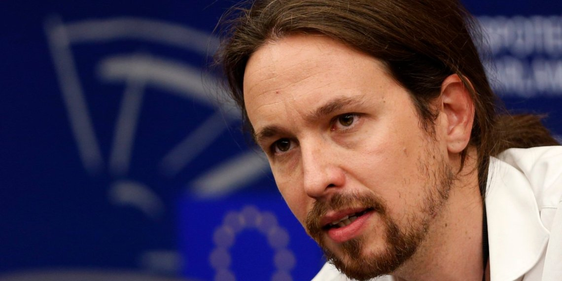 "Pablo Iglesias, head of leftist group ""Podemos"", or ""We Can"", addresses journalists during a press briefing at the European Parliament in Strasbourg"