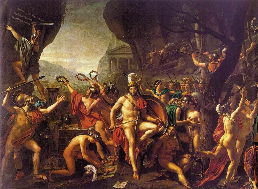 Leónidas en las Termópilas, por Jacques-Louis David (1814), Museo del Louvre (París).