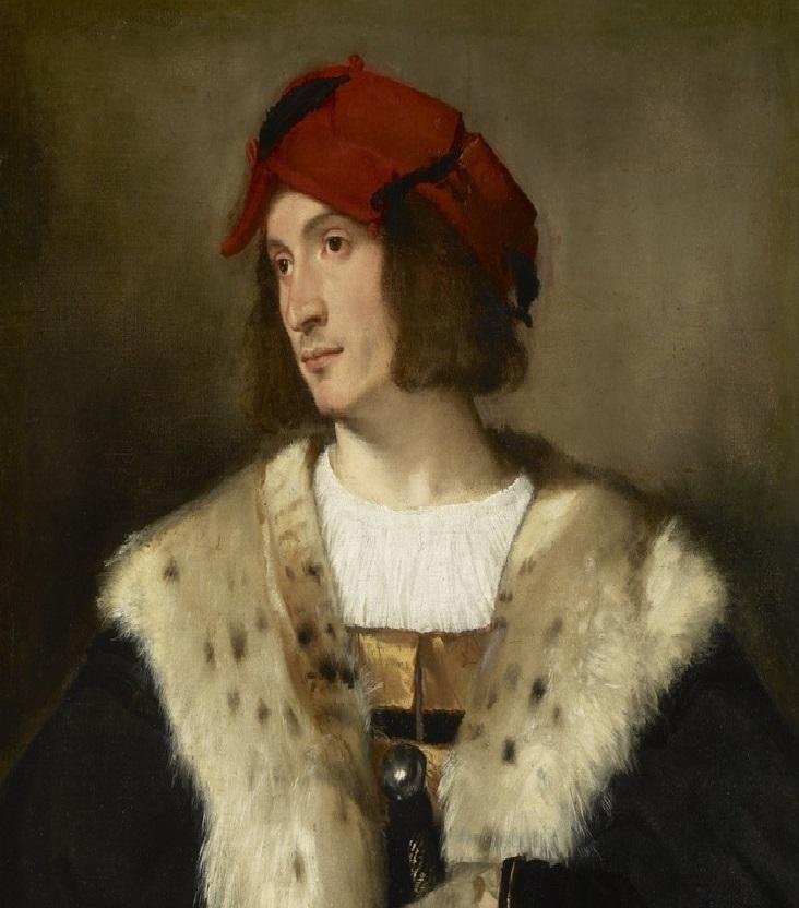 retrato de hombre con sombrero rojo