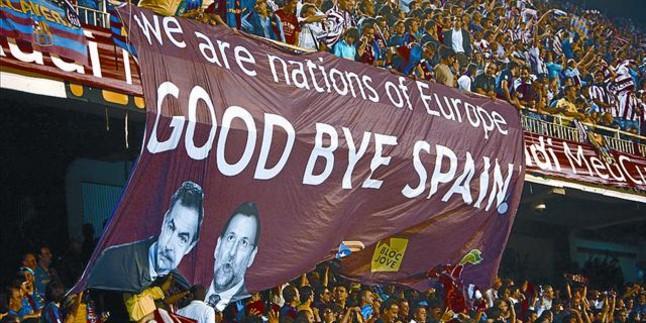 Pancarta exhibida en la final de la Copa del Rey 2009