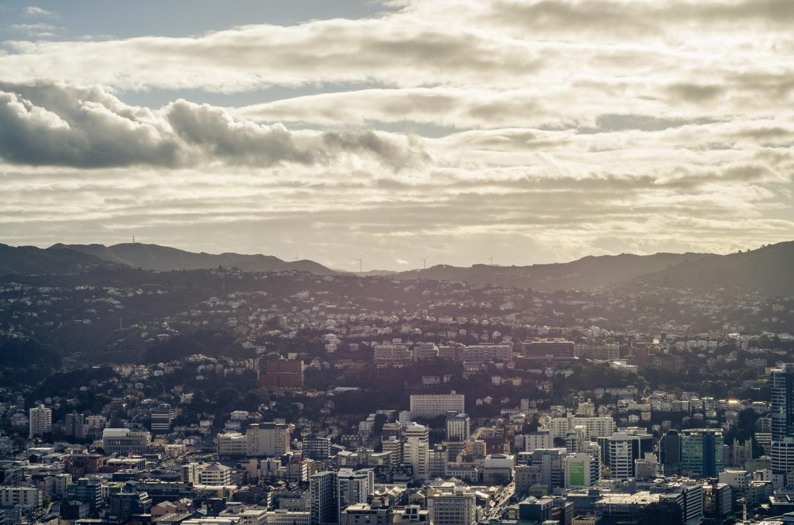 Skyline de Wellington, Nueva Zelanda.
