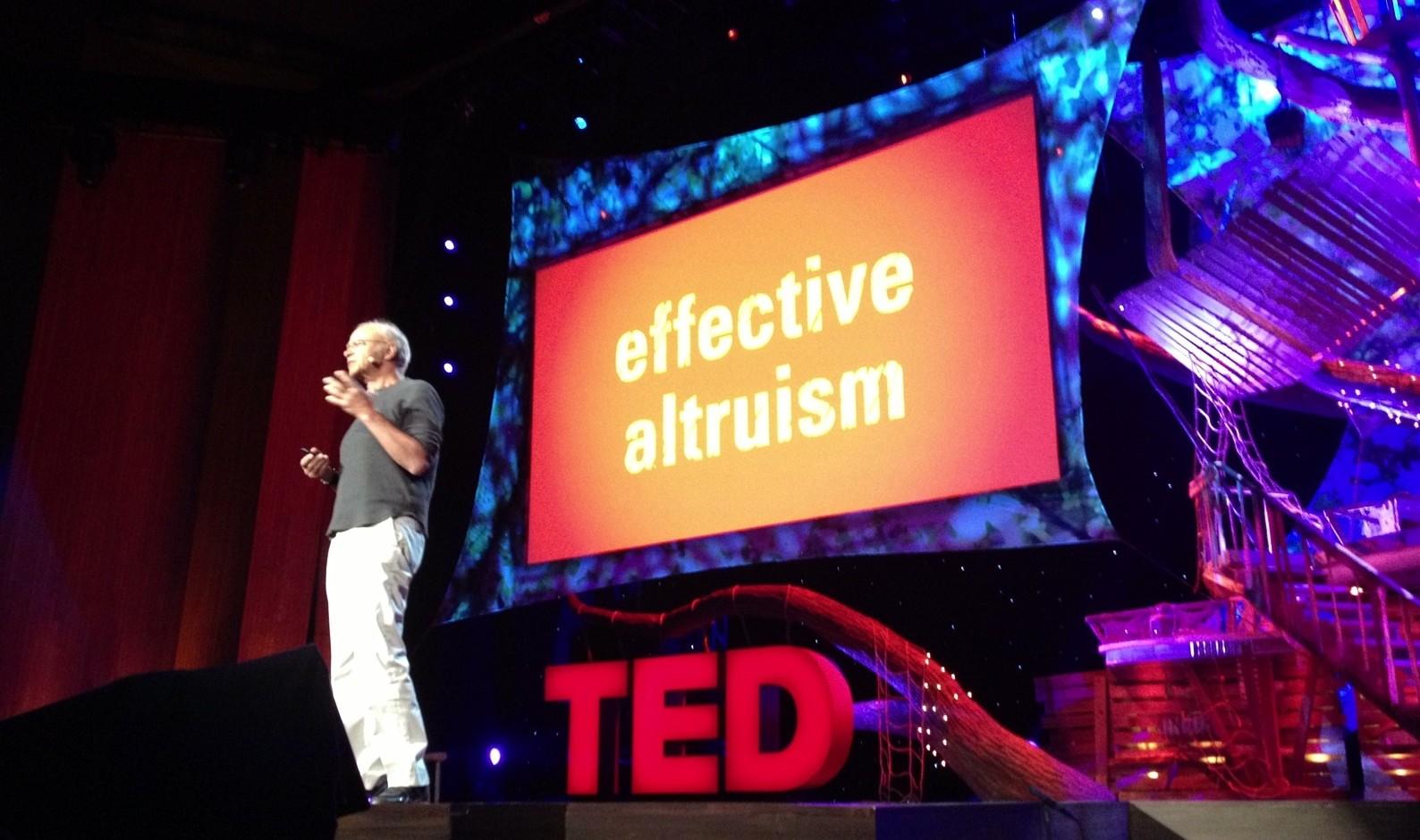 Peter Singer, en una ponencia sobre el Altruismo Eficaz.