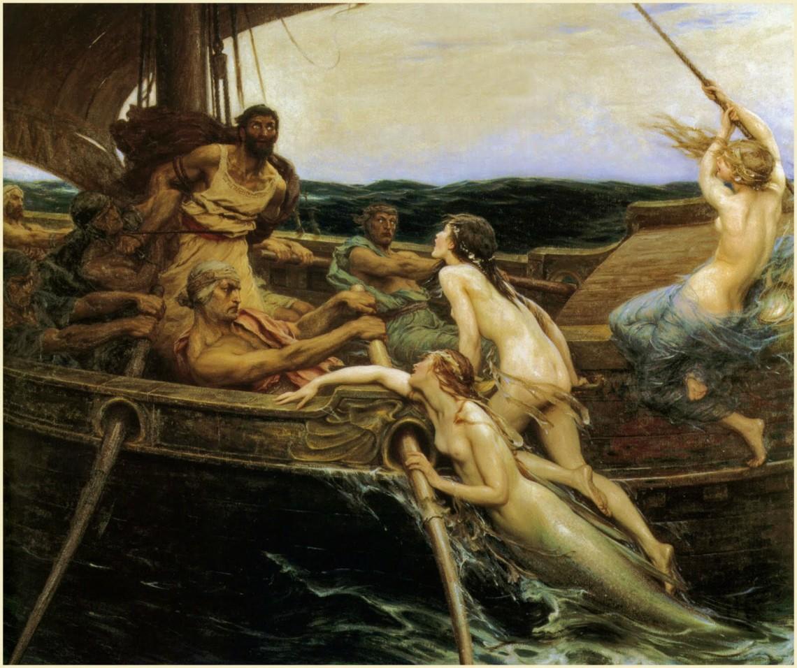 'Ulises y las sirenas', Herbert James Draper ( 1909) Ferens Art Gallery.